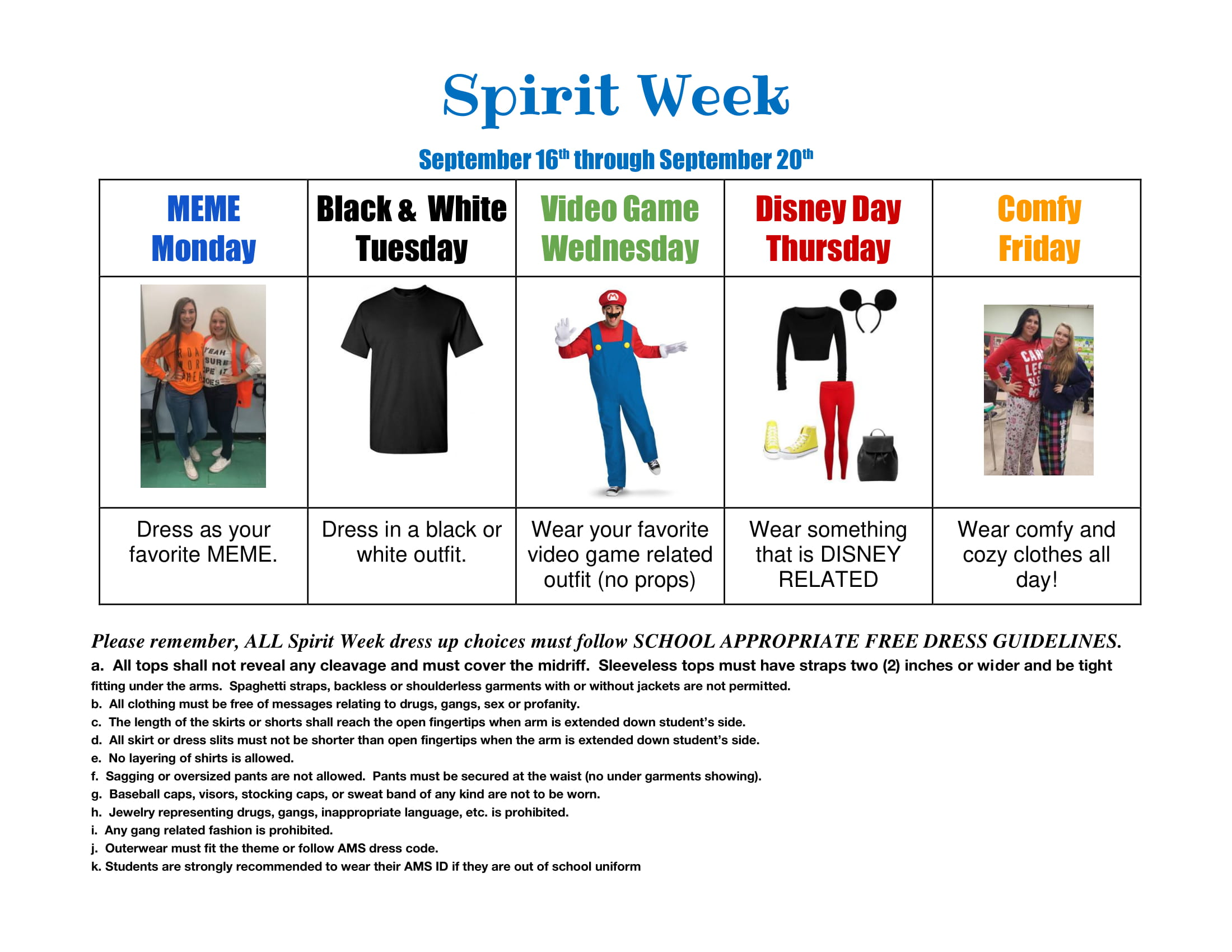 september 2019 spirit week