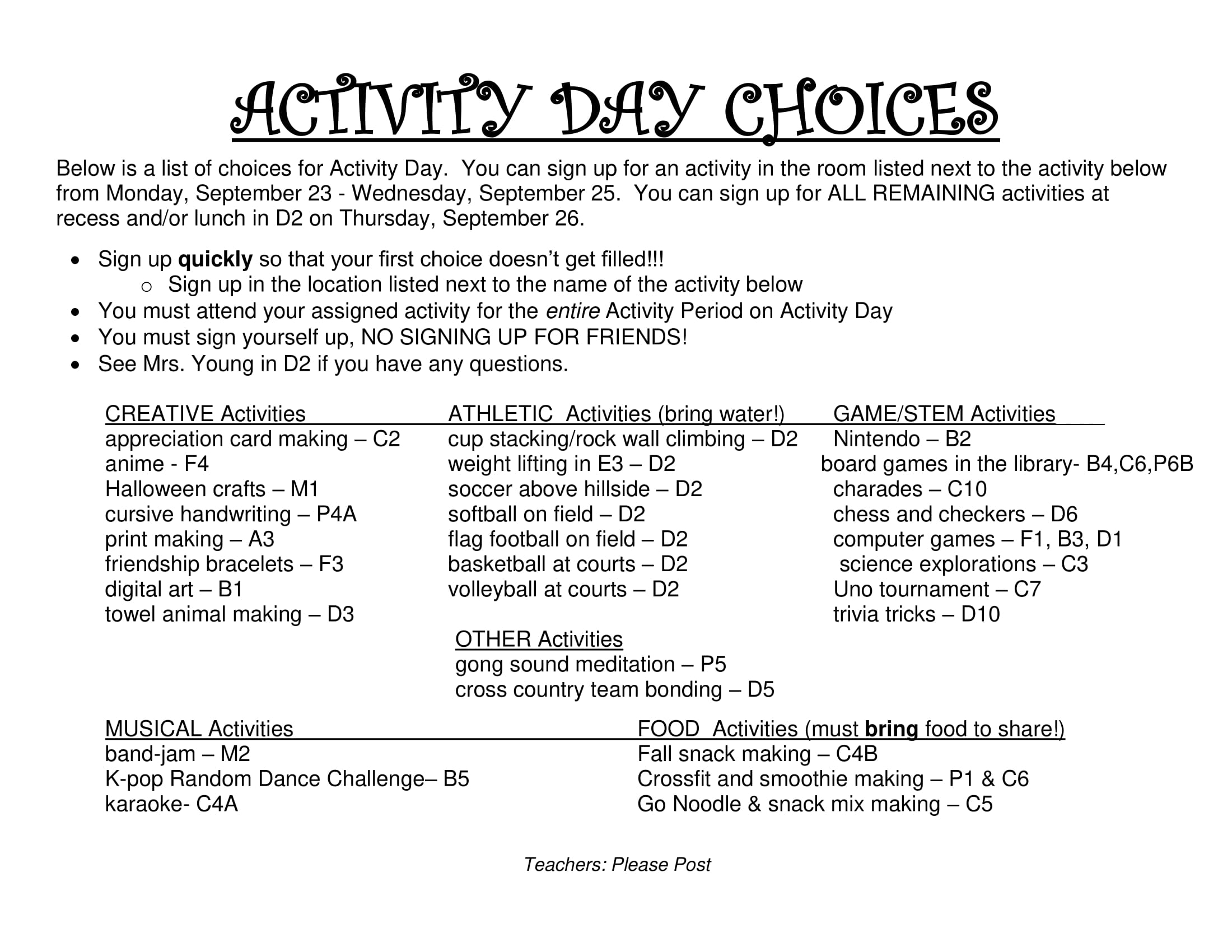 activity day choices for 10/04/2019