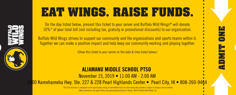 buffalo wild wings fund raise ticket