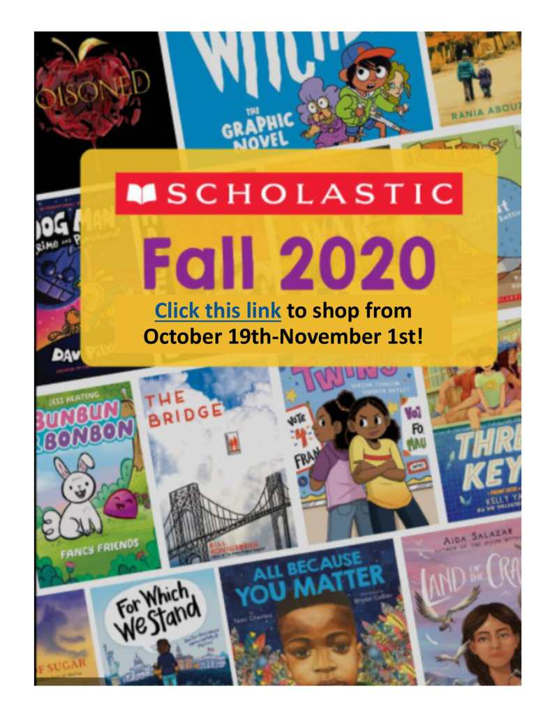 Scholastic book fair Fall 2020 October 19 - November 1